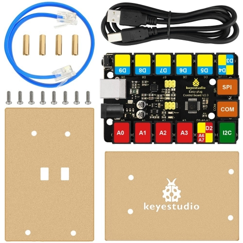 2019 New! Keyestudio RJ11 EASY Plug Main Control Upgrade Board V2.0 Controller +USB Cable for Arduino STEAM