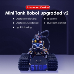 NEW! Keyestudio DIY Mini Tank V2.0 Smart Robot car kit for Arduino Robot STEM /Mixly blocks coding/Support IOS &Android APP