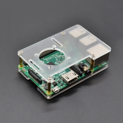 Suitable for Raspberry Pi 4B case Box Double Transparent Acrylic Case/Mountable the Cooling Fan